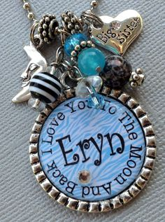 I Love You To The Moon and Back  Personalized Name Bottle Cap Necklace - big sister, little sister, daughter gift, grandaughter, new baby. $20.50, via Etsy.