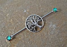 Tree of Life Glitter Opal industriële Barbell door Yourjewelryhut