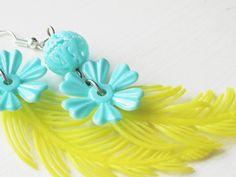 Vintage flower combo yellow and cornflower  blue EARRINGS