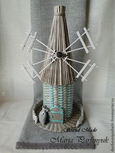 Корзины, коробы ручной работы. Ярмарка Мастеров - ручная работа Мельница -бутылочница. Handmade.