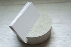 Concrete Round Business Card Holder by MeAConcrete on Etsy