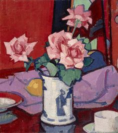 Pink Roses, Chinese Vase − Samuel John Peploe − p − Scottish Artists A-Z − Scottish Art − Collection − National Galleries of Scotland Painting Still Life, Still Life Art, Art Uk, Arte Floral, Canvas Prints, Art Prints, Canvas Art, Matisse, Art And Architecture
