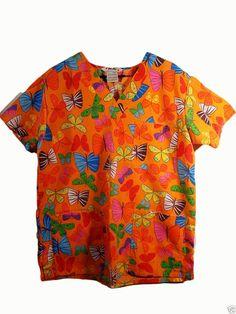 Scrub Top M Nursing Medical Uniform Rainbow BUTTERFLIES Crisp #JustLove
