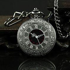 Relógio Masculino de Bolso de Liga Metálica Negra com Algarismos Romanos Analógico