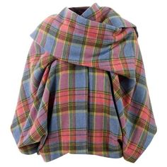 MBYM TARTAN CAPE PINK/BLUE/YELLOW WOOL - ($180) ❤ liked on Polyvore featuring outerwear, jackets, tops, coats, capes, tartan cape, pink cape coat, plaid wool cape, pink cape and plaid capes