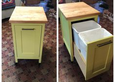 Small kitchen island with slide out double trash cans diy furniture plans how to build a full sized house bed Plywood Furniture, Diy Furniture Plans, Building Furniture, Furniture Design, Upcycled Furniture, Ana White Furniture, Small Furniture, Coaster Furniture, Modern Furniture