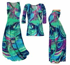 SALE! Teal Green and Purple Wild Print Slinky Plus Size & Supersize Dresses Tunic Tops & Pants -1x 2x 5x