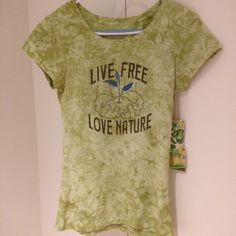 """Live free, love nature"" tee 100% organic cotton. No trades. Tops Tees - Short Sleeve"