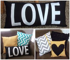 Cute pillow combination! Perfect for a college apartment or your cute little house! Love pillow tutorial on blog!