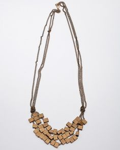 Wood and chain necklace