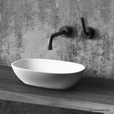 A freestanding basin, made from DADOquartz, available in . Accompanied by the JEE-O soho wall basin mixer. Bathroom Basin, Bathroom Hardware, Bathroom Fixtures, Washroom, Bathroom Cabinets, Soho, Industrial Bathroom, Modern Bathroom, Industrial Chic