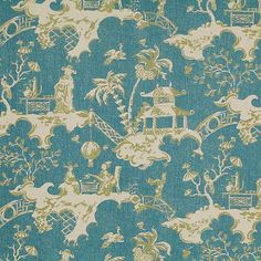 100% Linen Chinese Tea Party Print Fabric 3 Colorways