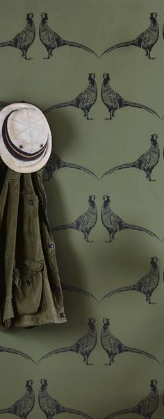 Fabric & wallpaper ideas in easy to use decorating schemes pheasant wallpaper in deep green and black from Barneby Gates Hallway Wallpaper, City Wallpaper, Green Wallpaper, Fabric Wallpaper, Bedroom Wallpaper, Wallpaper For Bathrooms, Bedroom Curtains, Wallpaper Wallpapers, Wallpaper Ideas