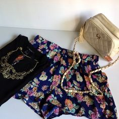 BundleFashion Outfit SpecialTop, Shorts, Purse Brand New.... Fashion Outfit..... Forever21 Black Sleeveless Top see-through, Gold Tone Necklace, Eyeshadow Floral Shorts, Beige Quilted CrossBody Purse. Black Top: Sleeveless, see-through, gold tone front bottoms, SM & MD.                                                                                Floral Shorts:  Elastic waist, open side pockets, MD. Forever21 & Eyeshadow Tops Blouses