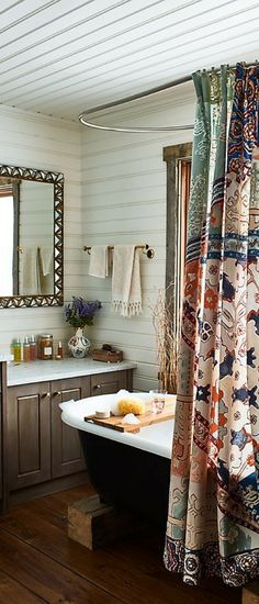 Gloriously boho shower curtain - Risa, by Anthropologie. Loving the ceiling here too. #affiliate #boho #anthropologie