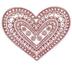éléments de conception dessinés à la main Résumé henna mehndi paisley coeur tatouage doodles vector illustration
