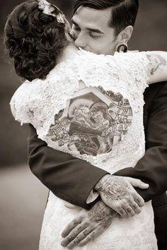 Vintage wedding tattoos love this peek a boo dress!