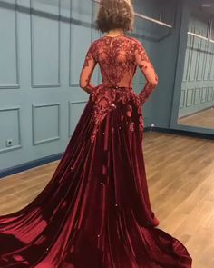Sparkly Prom Dress # 🔥 Sparkly Beads Burgundy Long Sleeve Prom Dresses with Applique, Stunning Ball Dress, Cheap Ball Dres Stunning Prom Dresses, Prom Dresses Long With Sleeves, Cheap Prom Dresses, Ball Dresses, Homecoming Dresses, Beautiful Dresses, Dress Prom, Dresses 2016, Wedding Dresses