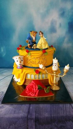2 layer cake theme Beauty and the Beast. Theacup rose and Lumiere are handmade 2 layer cake theme Be Beauty And The Beast Cake Birthdays, Beauty And The Beast Wedding Cake, Beauty And Beast Birthday, Beauty And The Beast Theme, Beauty Beast, Belle Birthday Cake, 4th Birthday Cakes, Disney Princess Birthday, Birthday Celebration