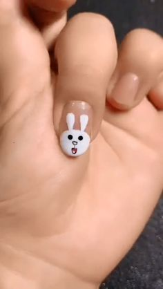 Cute Bunny Manicure Video 20 + Cute and Easy Nail Art Designs for Beginners - Stuff - Dark Pink Nails, Pink Nail Art, Simple Nail Art Designs, Nail Designs, Diy Nails, Cute Nails, Nail Art For Girls, Nail Art Courses, Sophisticated Nails
