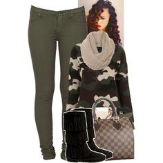 A fashion look from June 2014 featuring camo print shirt, army green jeans and black faux boots. Browse and shop related looks.
