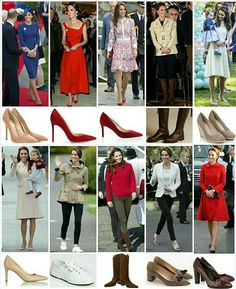 Here are all of the Duchess of Cambridge's footwear we have seen on the Canadian tour :: Top row , left to right 1. Gianvito Rossi 105 Suede Pumps in Taupe £495 Worn at : while arriving at Victoria 2. Gianvito Rossi 105 Suede Pumps in red £495 Worn at reconciliation ceremony at Victoria 3. Russel and Bromley Pinpoint Pointed Toe Court Shoes £165 Worn at : Vancouver 4. Penelope Chilvers boots £450 Worn at : Bella Bella 5. Monsoon Fleur wedges £13.50 Worn at : Victoria Second row, left to...