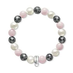 Rose quartz, hematite and pearl charm bracelet - THOMAS SABO Online Shop