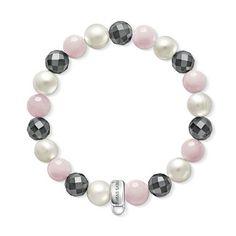 Rose quartz, hematite and pearl charm bracelet - THOMAS SABO Online Shop