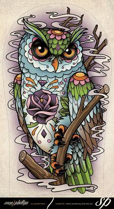 sugar skull owl. Sam Phillips. Idea for my leg