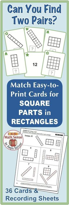 This set of printable cards will help students count and draw squares within rectangles (CCSS 2.G.2). During activities, students match rectangles to others with the same number of squares. ~by Angie Seltzer