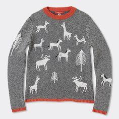 野生動物達のセーター グレー / #ドナ・ウィルソン