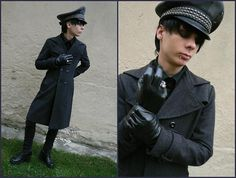 Ring With Skull, Black Jeans, Black Boots, Bw Officer Hat, Grey Coat, Old Navy Black Shirt, Humanic Leather Gloves