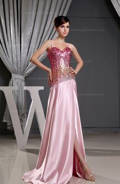 Sweetheart Shiny Sequins Top Dress with Slit  A-line/Princess, Floor Length, Sweetheart, Natural, Sleeveless, Beading, Zipper, Elastic Satin, Spring, Summer, Fall, Winter,   US$119.98