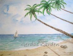 """""""Dream Vacation"""" 5x7 Watercolor print ocean beach #thecraftstar #gerdasgarden"""