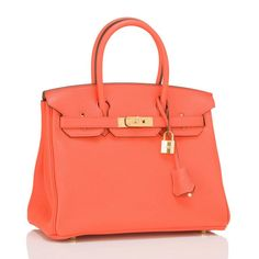 Hermes Orange Poppy Clemence Birkin 30cm Gold Hardware 2