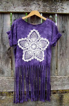 Purple layering tee fringed tank top upcycled wild horses doily mandala T shirt reconstructed fringe shirt crop top cut off shirt