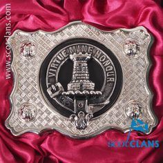 MacLean Clan Crest Belt Buckle. Free worldwide shipping available.