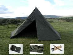 NEW Genuine Army Canvas Teepee Tent 2 Ponchos Pole Pegs Polish Army Surplus Camp