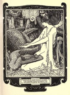 "John D Batten - Orpheus And Medea Charm The Snake That Guards The Golden Fleece, Illustration from ""The Book Of Wonder Voyages,"" 1919"