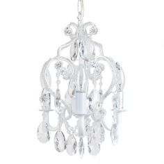 Uses three candelabra bulbs (NOT INCLUDED). Hang either with cord and plug as swag, or professionally install with included chain and ceiling cover plate. UL listed & Three Bulb Chandelier is a beautiful mini-chandelier for your little girl's room. Shabby Chic Chandelier, Chandelier Bedroom, White Chandelier, Chandelier Lighting, Glass Chandelier, Swag Light, Candelabra Bulbs, Little Girl Rooms, My New Room