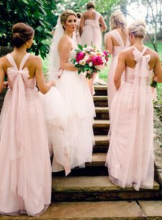 Gorgeous Pink Long Bridesmaid Dress Convertiable Bridesmaid Dess 6eb6a0fa3499