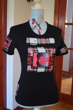 JJ Burnel. The Stranglers. Custom made t-shirt. Velvet feel prints on tartan.  Handmade in Scotland by MoNkA. https://www.facebook.com/monka.rocks/?fref=ts