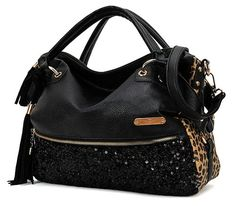 Sun*Glory New Women Handbag Shoulder Bags Tote Purse PU Leather Women Messenger Hobo Bag (Black Sequins): Handbags: Amazon.com