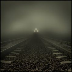 Beware what lurks upon trains and their tracks. Train approaching out of dark fog. Cool Photos, Beautiful Pictures, Badass Pictures, Trains, S Bahn, Night Train, Night Circus, Foto Art, Train Tracks