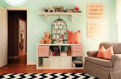 Like the color combo for a little girl's room. Not too pink