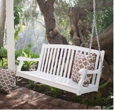 Outdoor-Porch-Swing-Bench-WHITE-Hardwood-4-Ft-Slat-Curved-Back-Patio-Loveseat