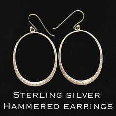 "Vintage Sterling Silver Hammered Dangle Earrings These are adorable Vintage Sterling Silver Hammered Drop/ Dangle Earrings. Marked 925. Measures 2"" long X 1.25"" wide. These earrings are in great vintage condition! Ready to wear! Dress them up w/ a pretty dress or down with your favorite pair of jeans!  Thanks for stopping by! I appreciate your interest! I ship out same day! Bundle & Save More! Please ask any questions you might have. Also, please make REASONABLE offer using the offer feature…"