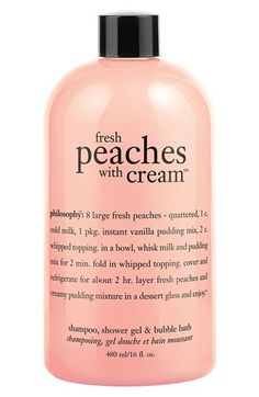 body care philosophy 'fresh peaches with cream' shampoo, shower gel & bubble bath available at - would be perfect a travel size of this Philosophy Shower Gel, Philosophy Products, Bath Body Works, Lush Shower Gel, Smoothies, Perfume, Nordstrom, Smell Good, Body Wash