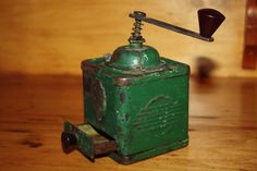 Vintage GRINDER  coffee  spice green metal  by TheCrowWhispers...