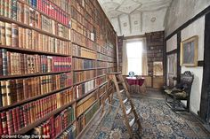 The Geraldine Room with its many books at West Horsley Place. The estate of the late Duchess of Roxbughe